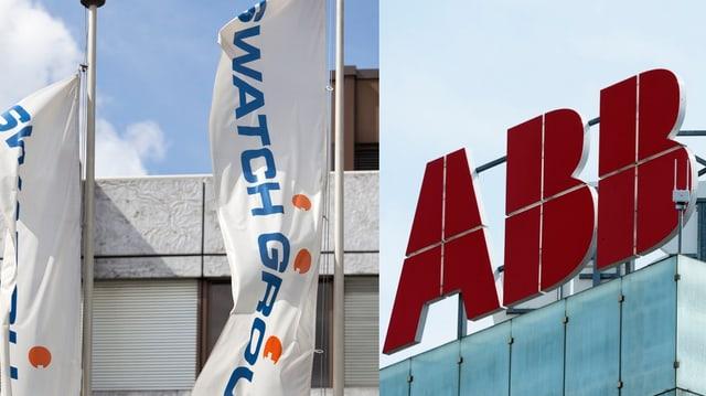 Logo da Swatch sin bandieras sper logo dad ABB sin in tetg dad in bajetg dal concern d'electronica.