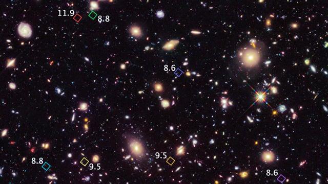 Die sieben entdeckten Galaxien