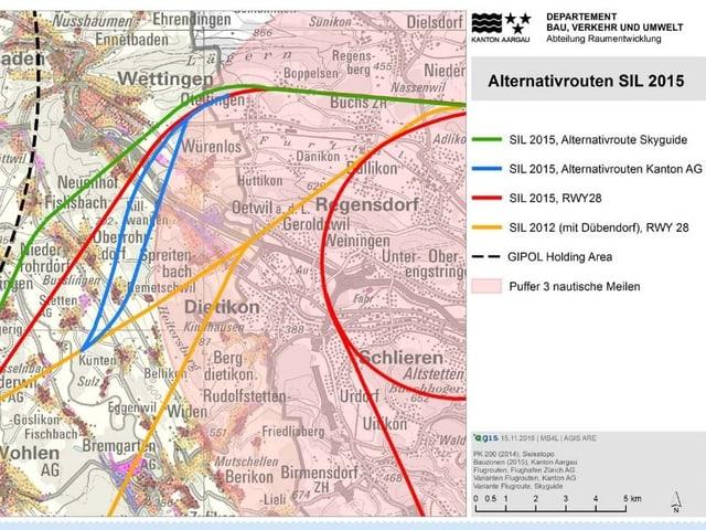 Karte mit bunt eingezeichneten Flugrouten.