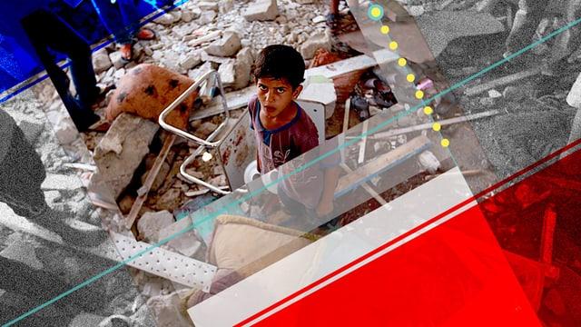 Ein Kind sitzt inmiten von Trümmern.