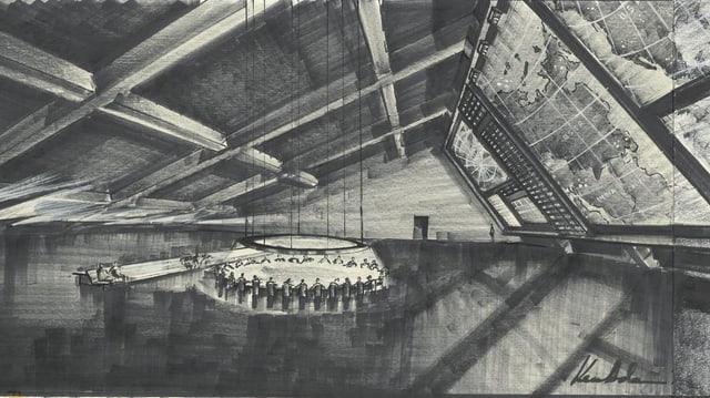 Zeichnung eines grossen Raumes, in der Mitte ein runder Tisch.