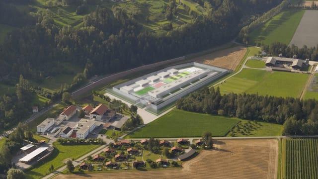 Eine Fotomontage des neuen Gefängnisses