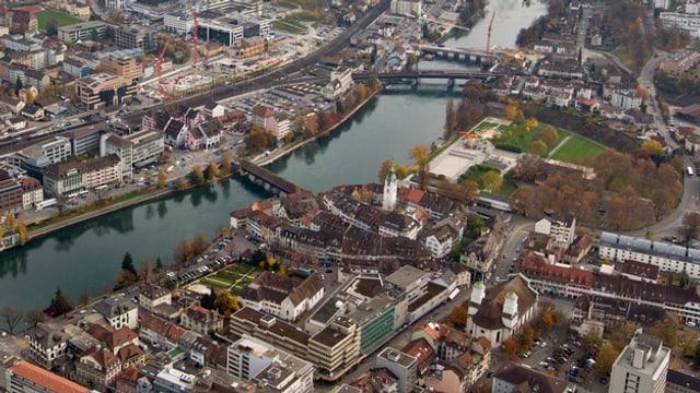 Luftaufnahme der Stadt Olten.