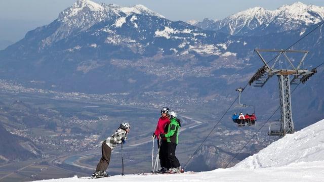 Skifahrer am Pizol