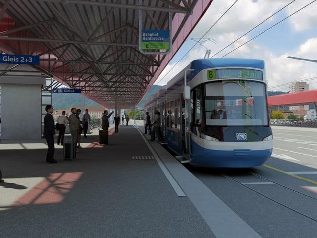 Das Tram fährt in den Bahnhof Zürich Hradbrücke ein.