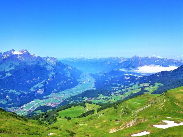 Blick von einer grünen Alpmatte ins Tal, es herrscht wolkenloses wetter