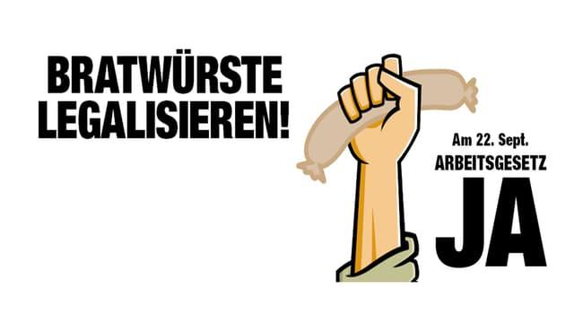 Abstimmungsplakat mit einer Bratwurst in der Hand zur Liberalisierung der Öffnungszeiten in Tankstellenshops.
