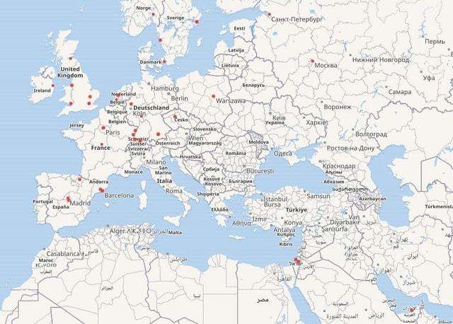 Europakarte mit Punkten, die für ein Museum mit Werken Picassos stehen.