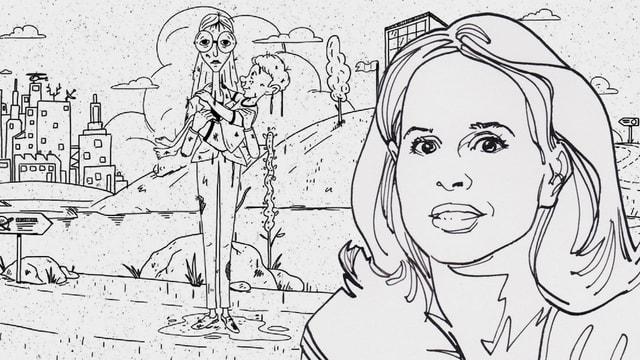 Eine Zeichnung zeigt Barbara Bleisch. Im Hintergrund steht eine nasse Frau neben einem Teich und hält ein Kind im Arm.