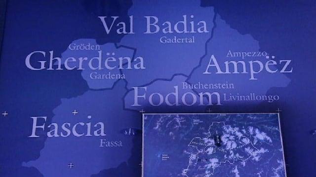 Charta cun nudà ils territoris dals idioms ladins