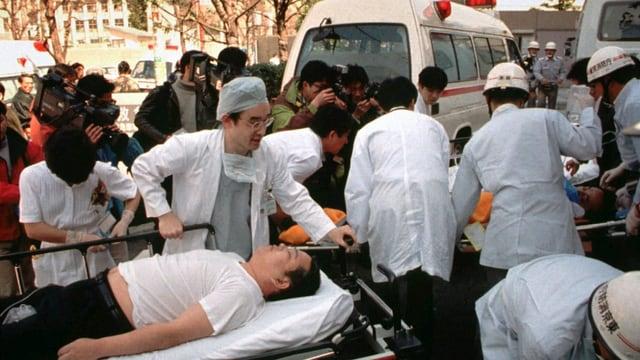 Anschlag auf U-Bahn in Tokio 1995.