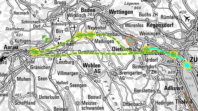 Eine Karte mit verschiedenen Tunnelvarianten