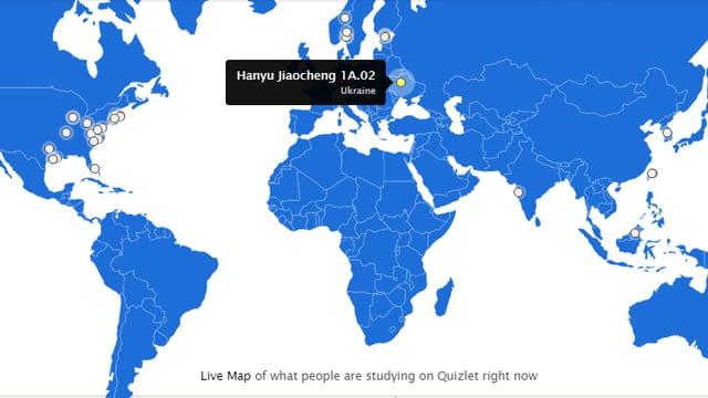 Weltkarte mit eingezeichneten Punkten