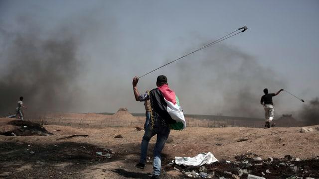 Palästinenser bei der Demonstration.
