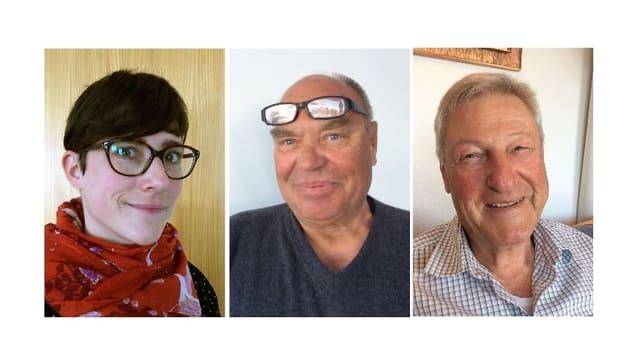 Gioia Baruffol, Ulrich Schmidt e Peter Widmer (da san.), trais persunas ch'èn s'integradas a Ruschein e Ladir.