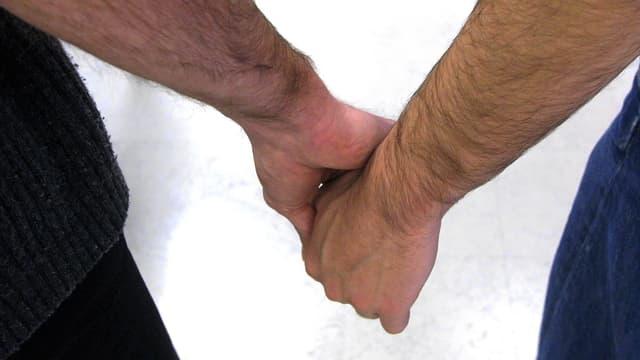 Zwei Männer halten Hände.