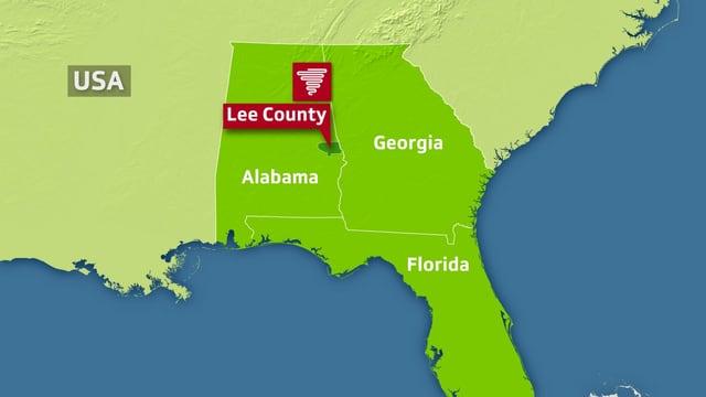 Karte mit Alabama, Georgia und Florida und spezieller Markierung des Lee County.