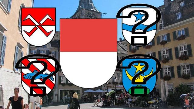 Wappen von 5 Gemeinden, über drei Wappen liegen Fragezeichen
