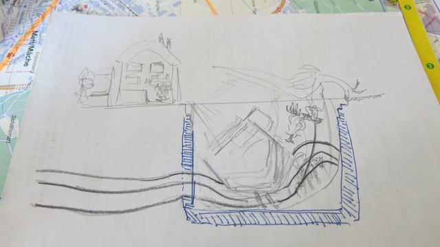 Zeichnung, wie ein Haus in ein Loch fällt