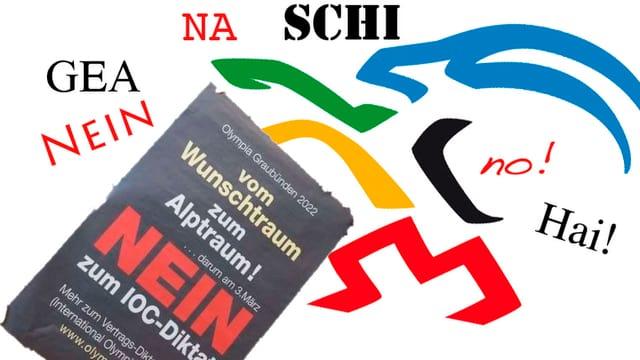 logo candidatura grischuna gieus olimpics, capricorn en las 5 colurs dals rintgs olimipics