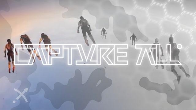 """Bildmontage: Schwebende Menschen vor grauem Hintergrund, darüber der Schriftzug """"CAPTURE ALL"""""""