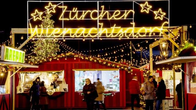 Weihnachtsdorf auf dem Zürcher Sechseläutenplatz