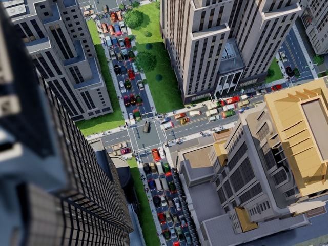 Ein Screenshot des Games «SimCity» zeigt mit Blick von oben Hochhausschluchten und Autos in den Strassen.