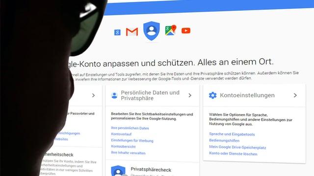 Ein Mann mit Brille blickt auf einen Bildschirm mit der Google-My-Account-Seite.