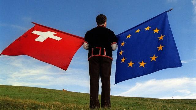 Um tegn las bandieras da la Svizra e da l'UE.