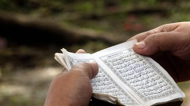 Zwei Hände halten einen Koran.
