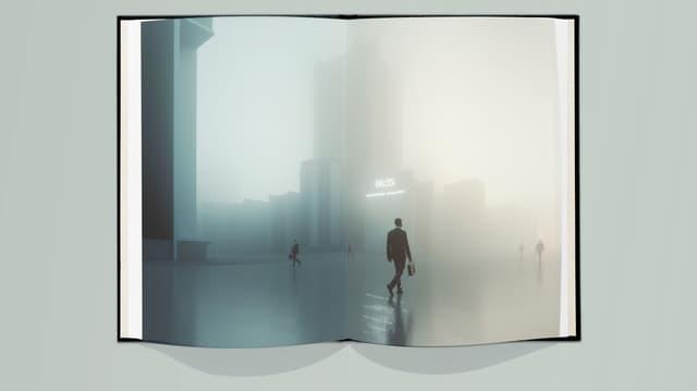 Ein aufgeschlagenes Buch, darin das Bild einer grauen, unheimlichen Stadtkulisse.
