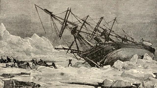 Zeichung: Ein grosses Segelschiff umgekippt in einer Eislandschaft.