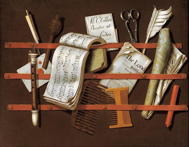 Stilleben: Noten, Flöten, eine Zeitung.
