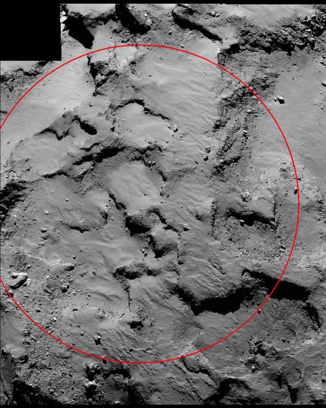 Nahaufnahme des Landeplatzes von Philae.