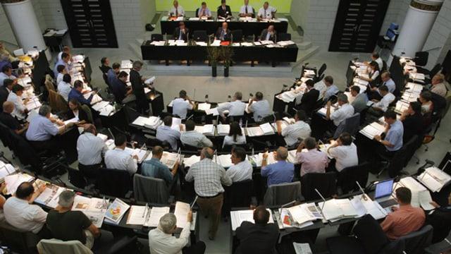 Das Luzerner Kantonsparlament von oben.