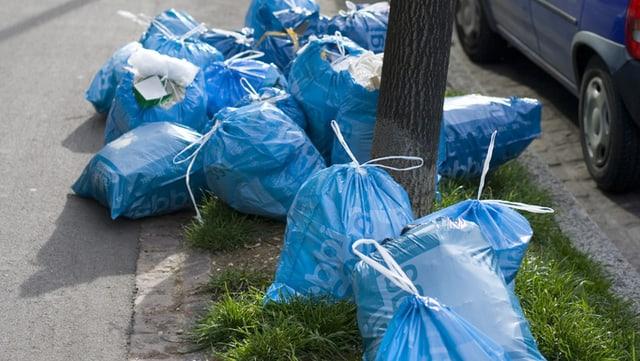 Zahlreiche Bebbi-Säcke liegen wild verteilt in einer Rabatte um einen Baum herum. Rechts daneben ein parkiertes Auto.
