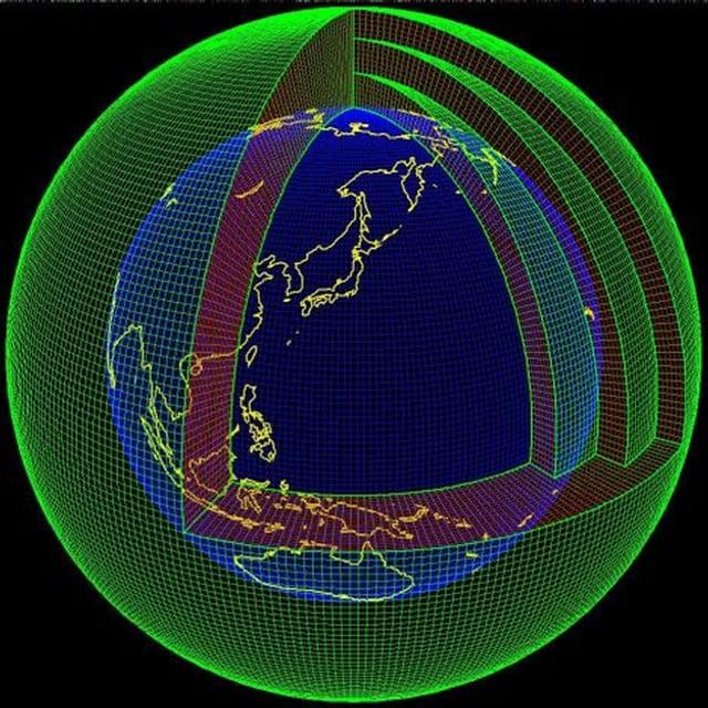 Ein dreidimensionales Gitter umspannt den Globus. Es versucht zu verdeutlichen, an welchen Punkten das Wetter berechnet wird.