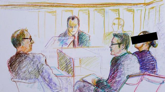 Szene aus dem Prozess vor Bezirksgericht Winterthur, festgehalten von der Gerichtszeichnerin Linda Graedel