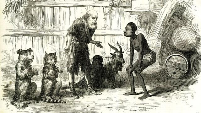 Eine Illustration: Robinson Crusoe mit einem Einheimischen.