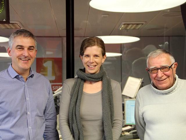 Adrian Herzog, Kerstin Birkeland Ackermann und Amandus Meichtry im Studio.