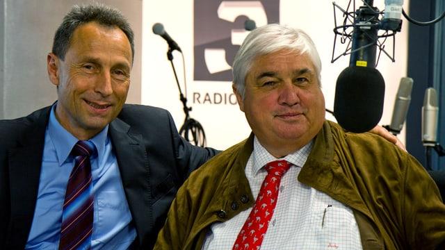Wuchsen beide in Samedan auf: Der 62jährige Starkoch Jacky Donatz (rechts im Bild) und der wohl bekannteste Polizeisprecher der Schweiz, Marco Cortesi.