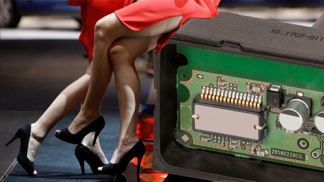 Hostessen am Autosalon mit einem sogenannten «Sensor Cluster».