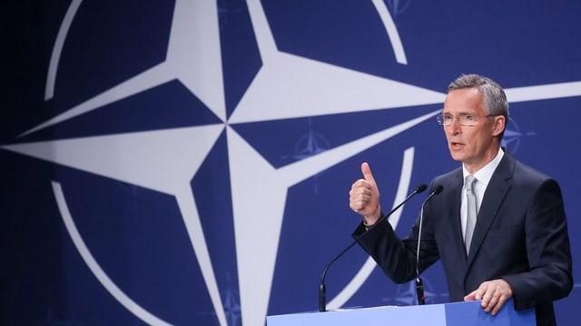 Jens Stoltenberg – il secretari general durant l'inscunter suprem da la Nato il 9 da fanadur 2016 a Warschau (PL).
