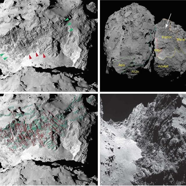 Die Region Hathor auf dem Kometen Tschuri – auf verschiedenen Aufnahmen mit unterschiedlichen Perspektiven.