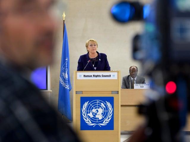 Michelle Bachelet vor dem Menschenrechtsrat.