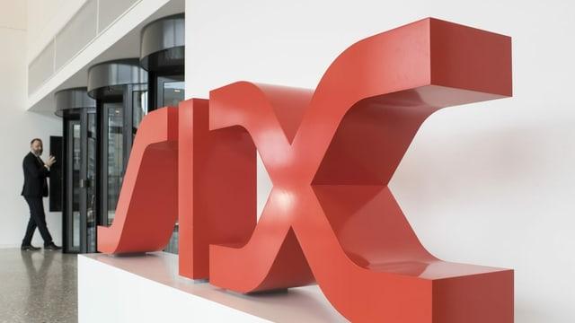 Das Logo der SIX Group in der Schweizer Börse in Zürich