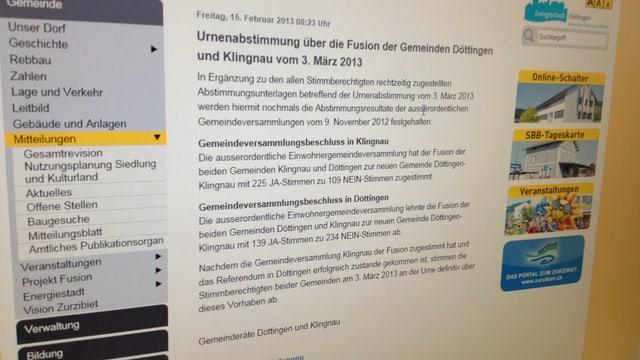 Blick auf die Website der Gemeinde Döttingen.