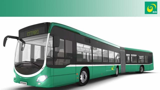 Gezeichnetes Modell eines neuen BVB-Busses.
