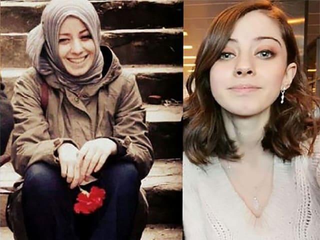 Zwei Porträts einer jungen Frau: links mit Kopftuch, rechts ohne.