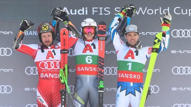 Da sanester Marcel Hirscher (Austria), Henrik Kristoffersen (Norvegia) e Thomas Fanara (Frantscha).